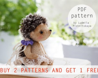 Cute Miniature Teddy Hedgehog pattern, teddy bear hedgehog pattern, teddy hedgehog, teddy pattern, soft toy pattern, 4 inches