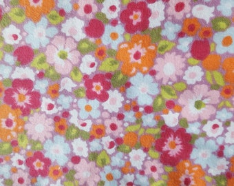 Pink Orange Blue Floral Flannel Fabric 100% Cotton Flannel Fabric