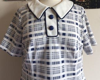 Vintage Mod Plaid Shift | 1960s Blue and White Dress | Size XL Plus Size