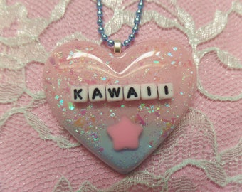 Kawaii Resin Heart Necklace