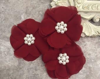 Dark Red flower, chiffon flower, pearl flower, fabric flower, headband flower, supply flower, ballerina flower