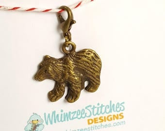 Bear (bronze) Progress Keeper Marker Stitch Marker with lobster clasp PK0016