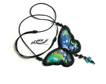 Japanese fabric Butterfly Necklace