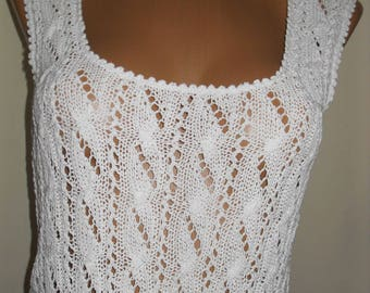Beautiful White knit top for the warm summer days