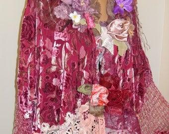 Wonderful Burgundy Silk Velvet Jacket or Tunuc Coat  Fairy Victorian  Art To Wear  handmade items, doilies crochet, silk flowers,handmade