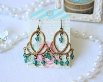 Emerald crystal chandelier earrings
