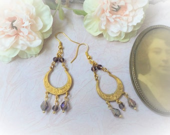 Victorian brass and Amethyst crystal earrings