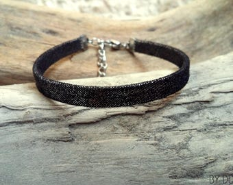 Leather bracelet black 1 link shining Boho jewelry By Dodie