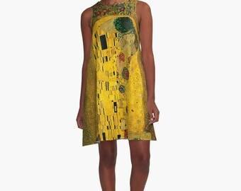The Kiss by Gustav Klimt A-Line Dress Trapeze XS S M L XL 2XL  Art Woman Teen Wearable Art Clothing