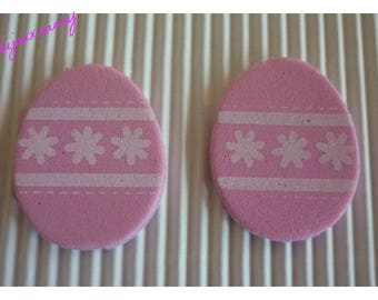 Easter eggs in MOSS, rose pattern flowers and bands, sold in packs of 2.