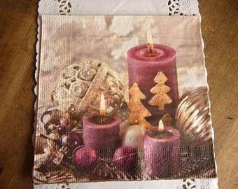 Christmas themed paper napkins Burgundy and gold.