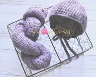 Newborn Knit Wrap and Basic Bonnet/Alpaca Photo Prop/Purple-READY TO SHIP