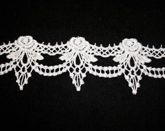 Ribbon pattern 20cm white guipure lace