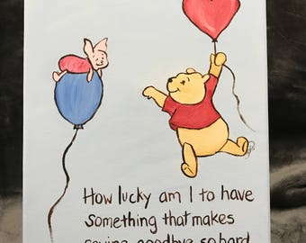 winnie the pooh canvas painting with quote saying goodbye moving quote art leaving home going away get well hospital stay 8x10 stretch