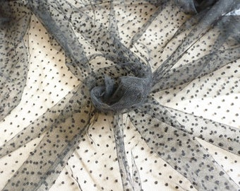 Tulle fabric dots Black 10 m.