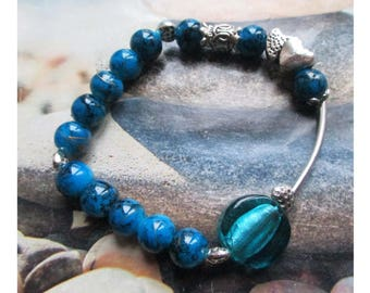 Bracelet beads Blue Lagoon/black marbled glass NET gold over silver