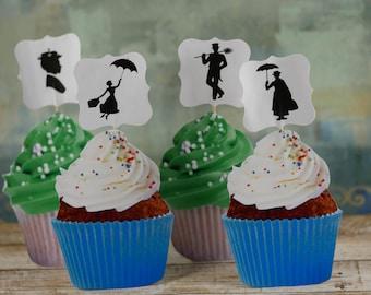 Mary Poppins cupcake picks, Mary Poppins cupcake wrapper,Mary Poppins theme party, Mary Poppins decorations