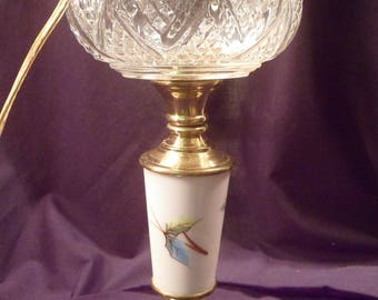Antique Oil Lamp Converted to Electric, Glass Oil Tank, Porcelain Hand-Painted Bird