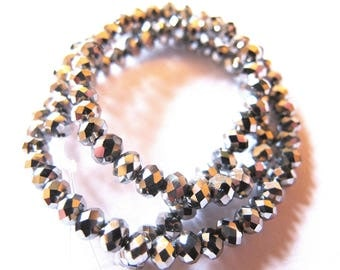 30 CRYSTAL GRAY SILVER HEMATITE ROUND BEADS HAVE FACETED 4 MM