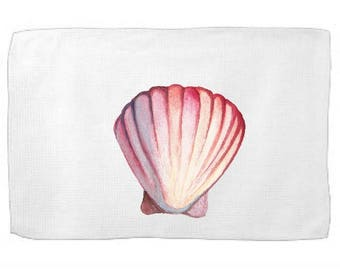 Watercolor Shell Kitchen Towel Ocean Dish Towel Tea Towel Flour Sack Towel From the Sea Towel Flour Sack Kitchen Towel  Whimsical Dish Cloth