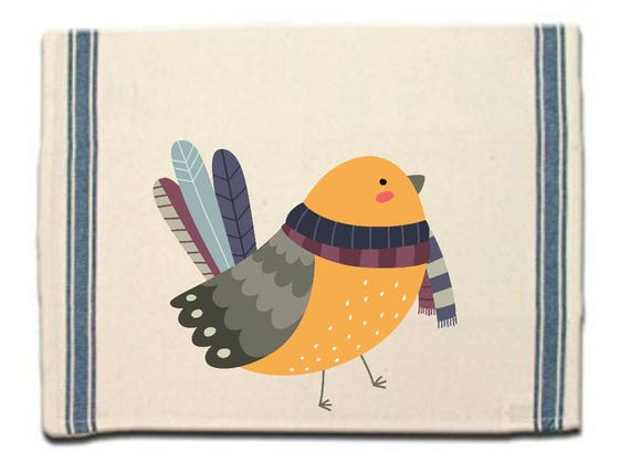 Bird in Knitted Scarf Kitchen Towel,Dish Towel,Tea Towel,Flour Sack Material,Woodland Animals Dish Towels,FlourSack Kitchen Towel,Dish Cloth