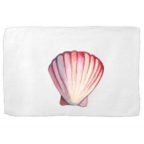 Watercolor Shell Kitchen Towel|Ocean Dish Towel|Tea Towel|Flour Sack Towel|From the Sea Towel|Flour Sack Kitchen Towel|Flour Sack Dish Cloth