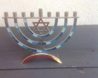 Vintage Menorah Chrome and Enamel Hanukkah Judaic Nine Candles