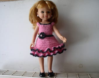 Pink and black doll with crochet ruffle dress