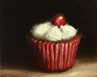 Cherry cupcake Small Original Oil Painting still life by Jane Palmer