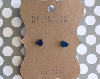 Blue heart earrings - small earrings - hematite - titanium blue - everyday earrings - heart earrings - blue earrings