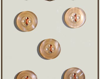 Set of 5 round buttons of salmon-colored plastic 14 mm