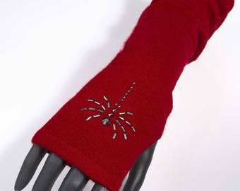 Fingerless gloves long Cashmere Red 100% cashmere, araigneee rhinestone gift wife Valentine sexy gloves, burlesque, pin-up style