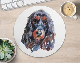 English Cocker Spaniel Mouse Pad Dog Mouse Mat Fabric MousePad Round Cute MouseMat Her Gift Watercolor MousePad Accessories Office Supplies