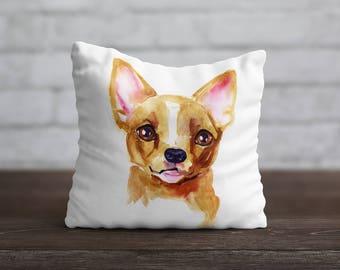 Chihuahua PillowCase Dog Throw Pillow Name Pet Portrait Custom Toss Pillow Silk PillowCase Satin Personalized Pillow Cover Mom Gift Birthday