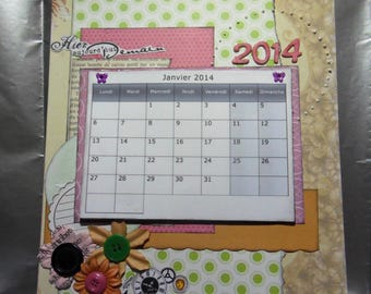 "Calendar on medium card stock to customize... 2014 wrecked ""time flies"""