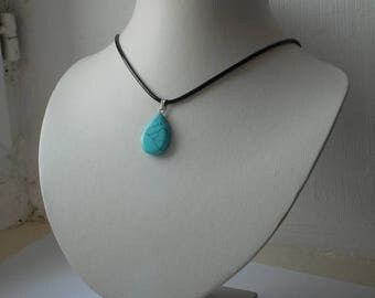 stunning hand polished marble / stone pendant with 18 inch necklace