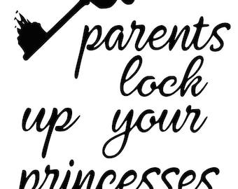 SVG, disney, parents lock up your princesses, disney key, disney castle, cut file, printable,  cricut, silhouette, instant download