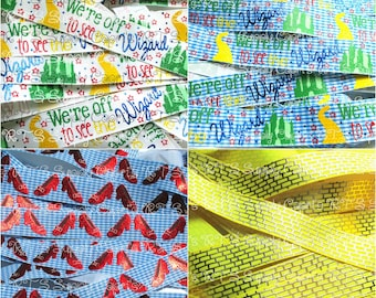"7/8"" We're Off To See The Wizard Ruby Slippers Gingham Yellow Brick Road Oz US Designer Grosgrain Printed Ribbon"
