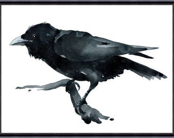 Digital Download Crow Original watercolor painting Crow lover art, Crow wall art, raven
