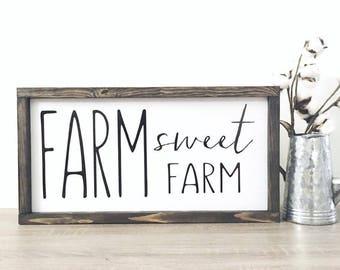Farm Sweet Farm Sign | Farmhouse Decor | Country Home Decor | Rustic Sign | Home Sign | Farm Sign | Framed Farm House Sign | Fixer Upper