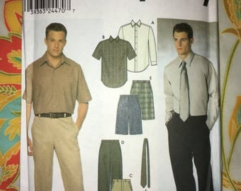 Uncut Simplicity 9469 Pattern Mens Shirt Pants Tie Business Clothes Size BB 46-48-50-52