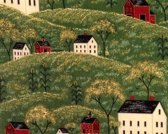 ON BOLT 1+ Yard Green Cotton Fabric from Warren Kimble 'Country Life Pattern' - Non-Flannel