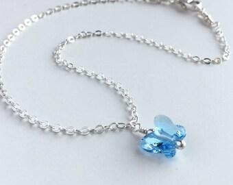 Something Blue Anklet - Sterling Silver Ankle Bracelet - Dainty Ankle Bracelet Silver - Silver Ankle Bracelet - Wedding Anklet