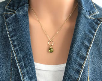 Peridot Necklace - Birthstone Necklace August - Green Necklace Ideas for Women - Green Jewelry Ideas for Her - August Birthstone