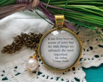 Sherlock Holmes Quote Necklace, Book Nook, Sir Arthur Conan Doyle, Little Things Quote, Quote Necklace, Book Jewelry, MarjorieMae
