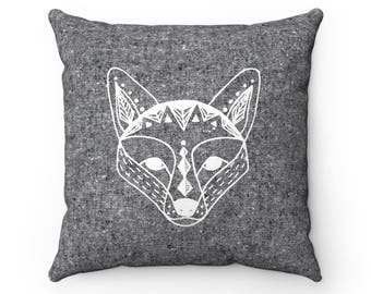 "Scandinavian Fox print pillow cover, Cushion cover 14""or 18"", Black + white, Decorative textile, Scandinavian print, Geometric, Woodland"