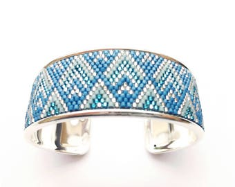 Very pretty teal and silver cuff beadwoven miyuki mounted on rigid support
