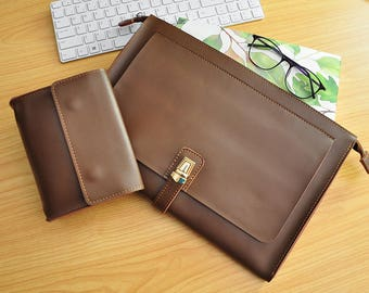 Custom Laptop leather Sleeve New Dell XPS Case Lenovo Yoga Case HP Laptop Case Surface Book case All Size Available-Brown Leather bag-108