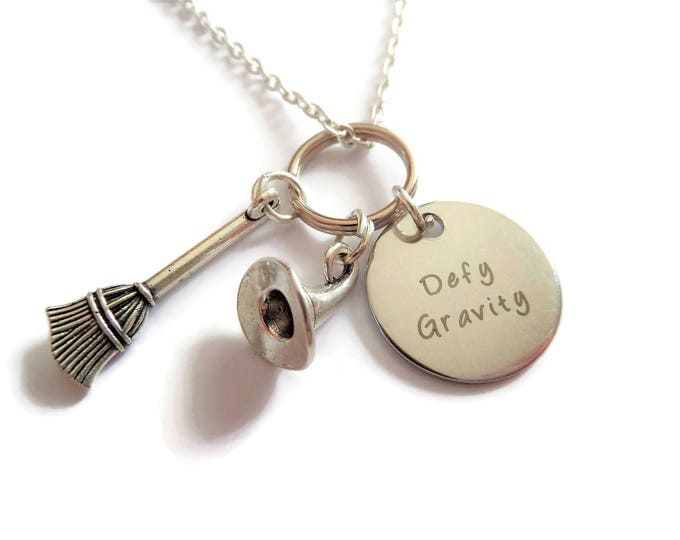 Defy gravity necklace, wicked necklace, witches necklace, witch gift, halloween necklace, musical gift, musical necklace, sandykissesuk
