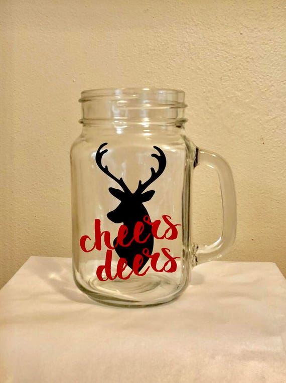Cheers Deers Glass Mason Jar